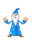 Blue Old Wizard - Confused